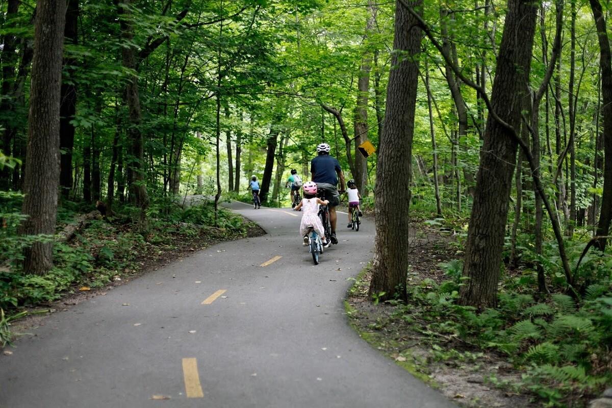 Plein air proximité famille à vélo ville
